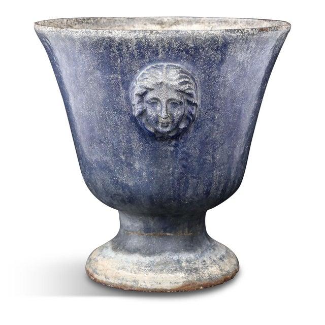 Large blue enameled Rouen urn, cast in iron circa 1880-1900, Paris.