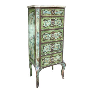 Continental Diminutive Painted Marble-top Chest For Sale