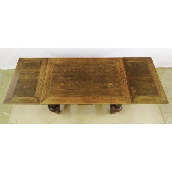 Extending Antique French Solid Oak Jacobean Style Dining Table For Sale - Image 10 of 13