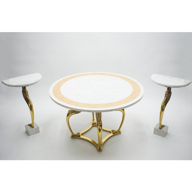 Robert Thibier Rare Hollywood Regency Robert Thibier Brass Marble Dining Table, 1970s For Sale - Image 4 of 13