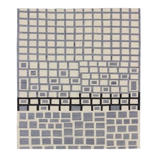 Contemporary Afghan Kilim Steel Gray Rug - 8′10″ × 9′8″ For Sale
