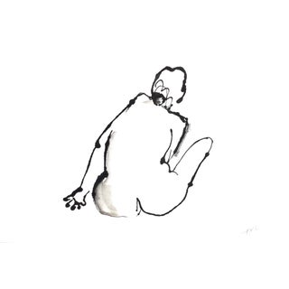 Contemporary Modern Nude Ink Drawing by Martha Holden For Sale