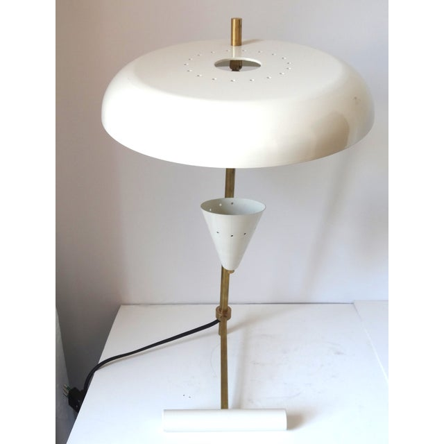 Italian Brass & White Lacquered Lamps - A Pair - Image 3 of 6