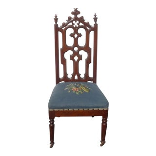 Antique French Provincial Victorian Blue Floral Tapestry Accent Chair For Sale
