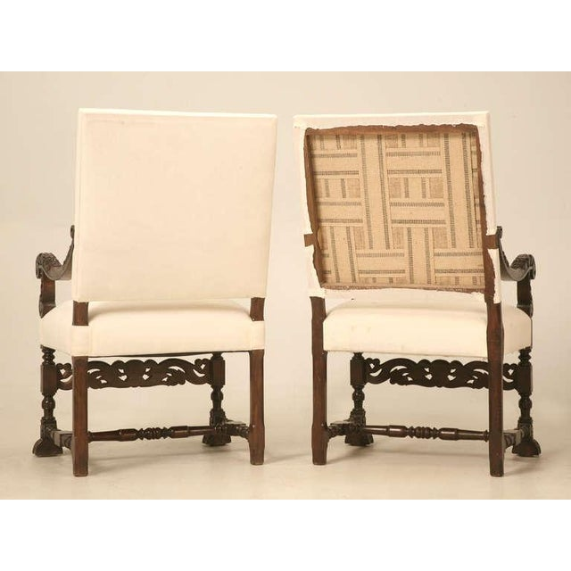 Hand-Carved French White Oak Throne Chairs - A Pair - Image 11 of 11
