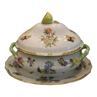 Herend Queen Victoria Lemon Tureen and 150 Anniversary Turkey Platter For Sale