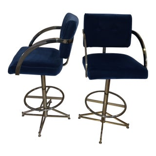 1980s Vintage Blue Milo Baughman Brass Finish Swivel Chairs - a Pair For Sale