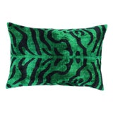 Image of Contemporary Turkish Handmade Tiger Print Green Velvet Throw Pillow For Sale