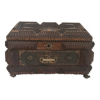 19th Century Black Forest German Tramp Art Box For Sale