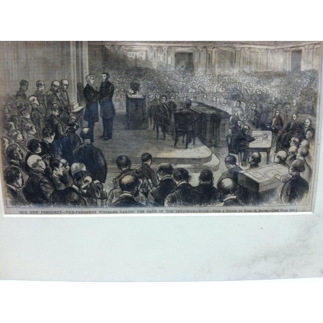 """American Mid 19th Century Antique """"Our New President - Vice President Wheeler Talking the Oath in the Senate Chamber"""" Matted Harper's Weekly Print For Sale - Image 3 of 4"""