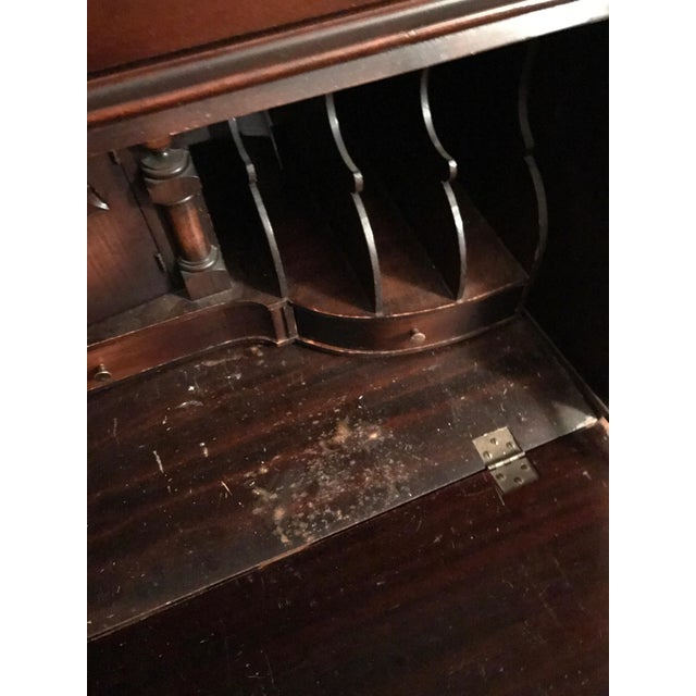 Queen Ann Mahogany Secretary Desk Armoire For Sale - Image 10 of 11