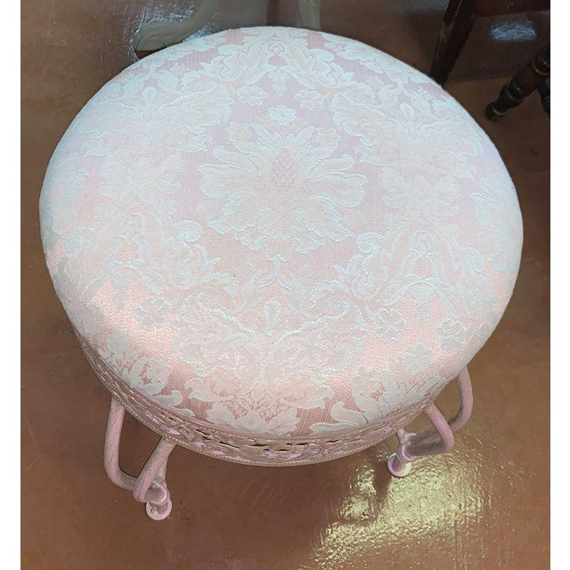 Fabulous pearlescent pink vanity stool, hand painted and reimagined in luxurious petal pinks and pearl. The seat has been...