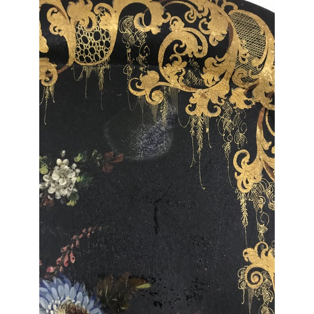 Napoleon III Painted Tray on Custom Art Deco Wrought Iron Stand For Sale - Image 6 of 9