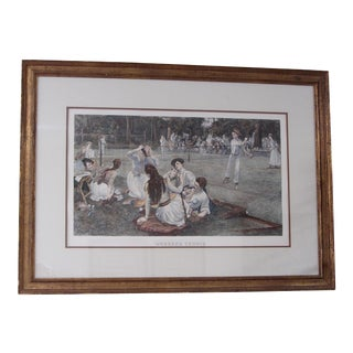 """""""Weekend Tennis"""" Vintage Hand Colored Engraving For Sale"""
