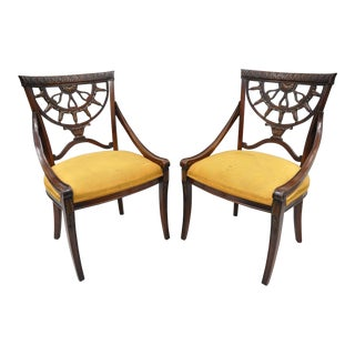 Antique French Regency Style Pierce Carved Mahogany Dining Chairs - A Pair