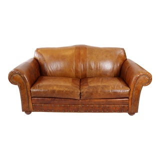 Old Hickory Tannery Leather Sofa For Sale