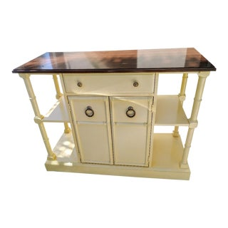 Vintage Faux Bamboo Palm Beach Regency Center Island Buffet Cabinet For Sale