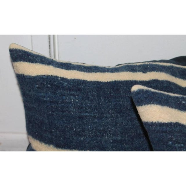 Set of Four Indigo and White Striped Alpaca Bolster Pillows For Sale - Image 4 of 6