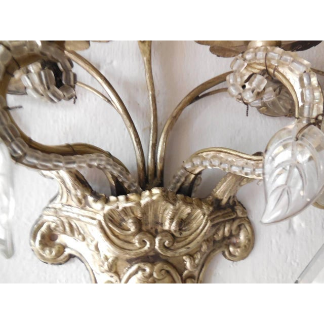 French Maison Bagues Style Silver Floral Beaded Sconces For Sale - Image 9 of 10