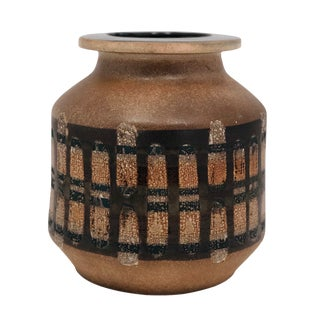 Lapid Israël Mid-Century Wax Resist Patterned Brown Vase For Sale