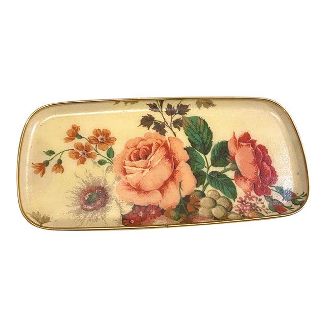 Mid-Century Floral Fiberglass Serving Tray For Sale