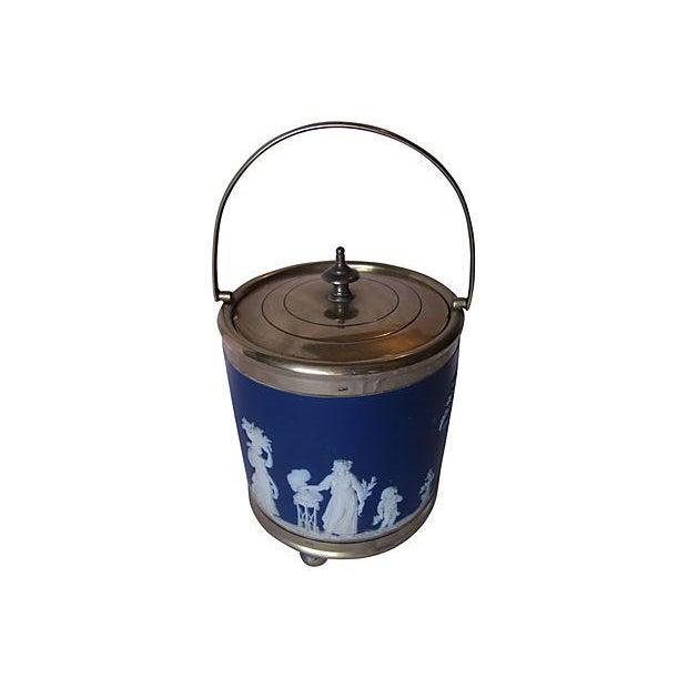 Antique Wedgwood Blue Jasper Dip Glaze Ice Bucket - Image 2 of 4