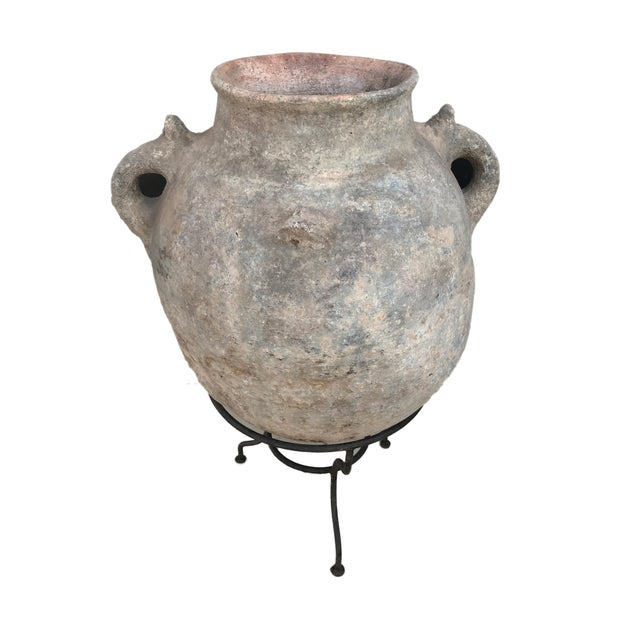 """1980s Lg Saharian Terracota Pot W/ Stand 29"""" H For Sale - Image 5 of 8"""