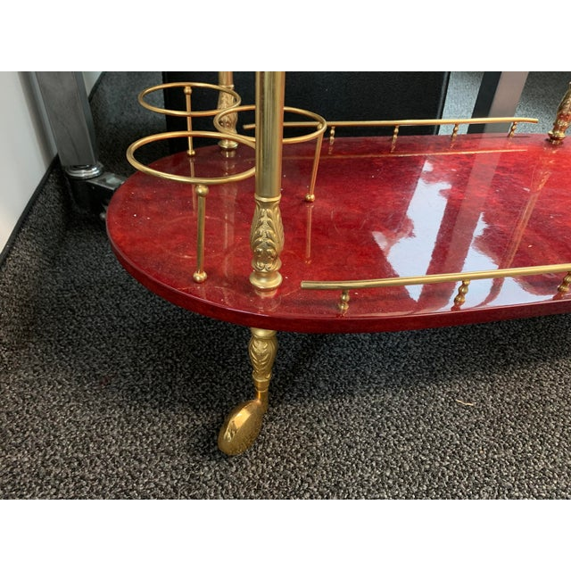 1950's Goatskin Red Aldo Tura Bar Trolley Cart For Sale In New York - Image 6 of 13