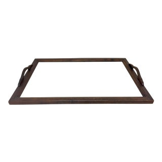 Antique Wood Tray With Glass Insert For Sale