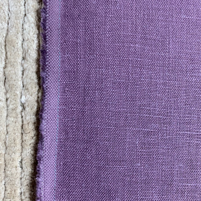 Designer 100% Linen Aubergine Purple Fabric For Sale - Image 4 of 6