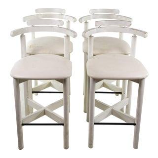1970s Art Deco White Bar Stools - Set of 4