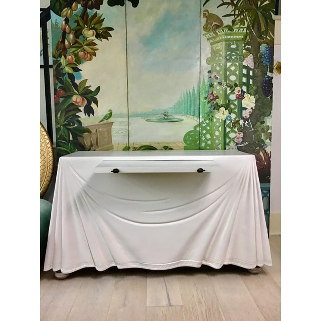 1980s Hollywood Regency Lacquered Parchment Trompe L'Oeil Drapery Console For Sale - Image 9 of 12