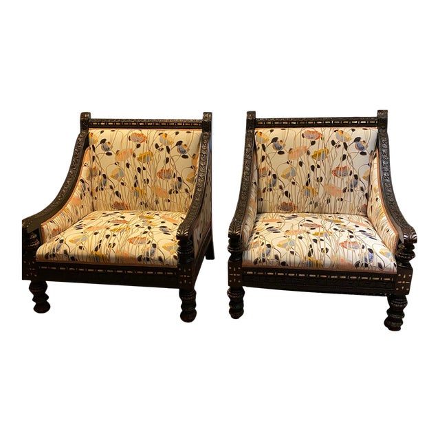 19th Century Mother of Pearl Inlay Chairs - a Pair For Sale