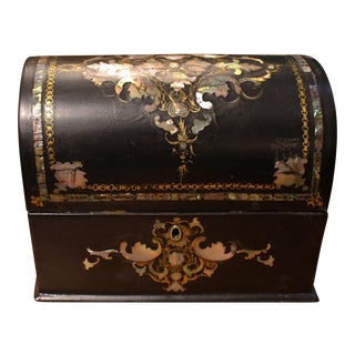 Mid-19th Century English Papier Mache Letter Box For Sale