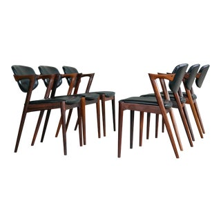 Set of Six Kai Kristiansen Model 42 Rosewood Dining Chairs for Schou Andersen For Sale