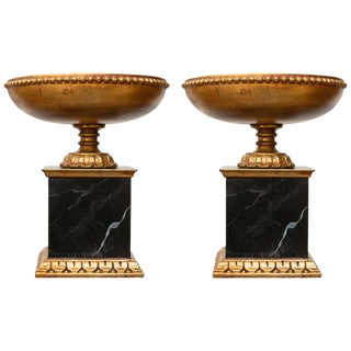 Italian Giltwood Tazza on Faux Marble Pedestal - a Pair For Sale