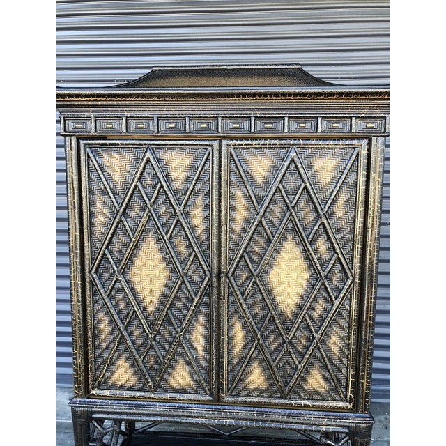 Rattan Chinoiserie Rattan Pagoda Style Tv Cabinet Armoire For Sale - Image 7 of 13