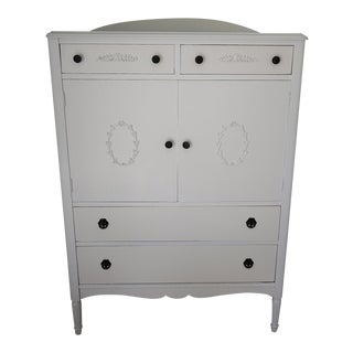 Vintage Gustavian Style White Painted Dresser