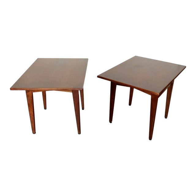 Jens Risom Walnut Side Tables - a Pair For Sale