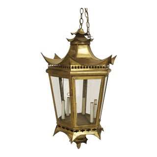 Asian Chinese Style Brass 8 Sided Glass Panel Lanterns- A Pair For Sale
