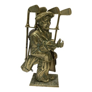 English Brass Fireplace Golfer Set - Set of 5 For Sale