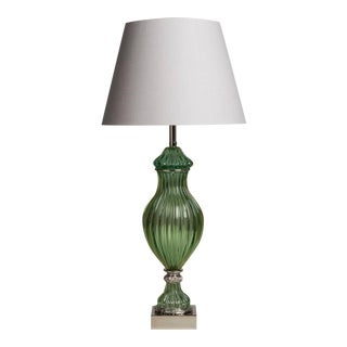 A Superb Seguso for Marbro Murano Green Glass Lamp 1950s For Sale