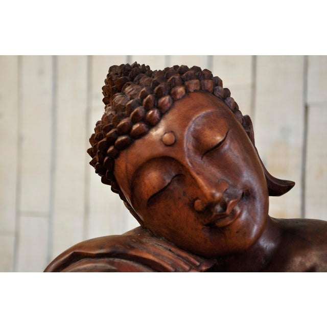 Asian Hand Carved Thinking Buddha Statue Suar Wood Sculpture Bali Art For Sale - Image 3 of 11
