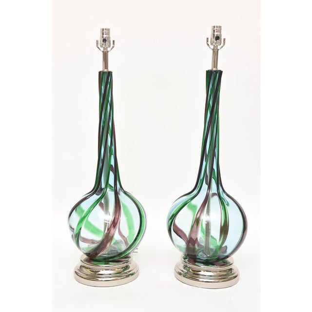 Murano Seguso Glass Table Lamps Pair of Vintage For Sale - Image 11 of 11