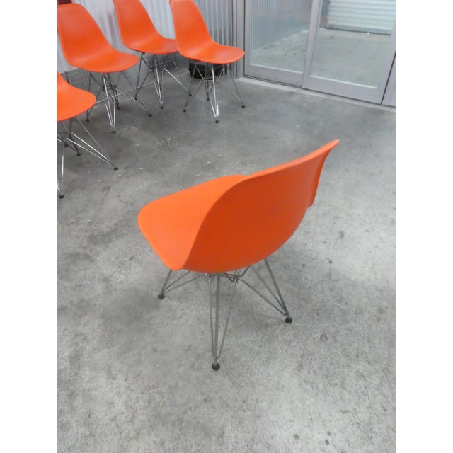 Metal 8 Orange Herman Miller Eames Office Eiffel Tower Chairs For Sale - Image 7 of 10
