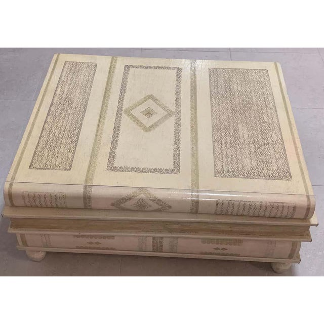 Wood Neoclassical White-Parchment Leather Book Coffee Table by Maitland-Smith For Sale - Image 7 of 10