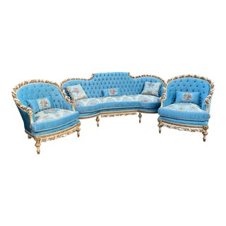French Louis XVI Hand Carved Solid Wooden Living Room Set - 3 Pieces For Sale