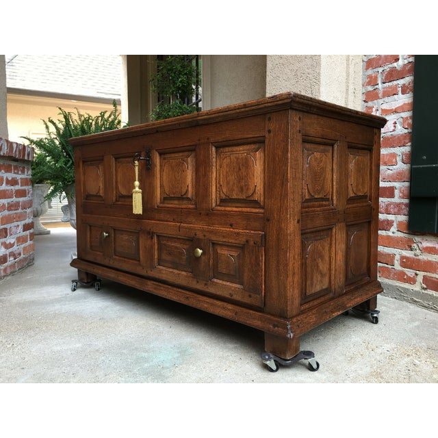 Antique French Carved Oak Chest Blanket Box Truck Coffee Table. Directly from France. Absolutely gorgeous antique carved...