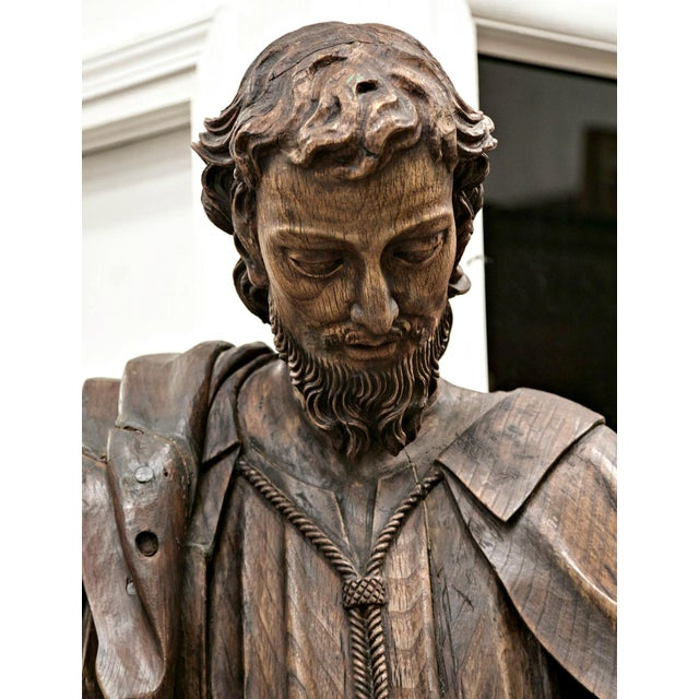 Figurative 18th Century Life Size Carved Wood Statue of St. Joseph For Sale - Image 3 of 10