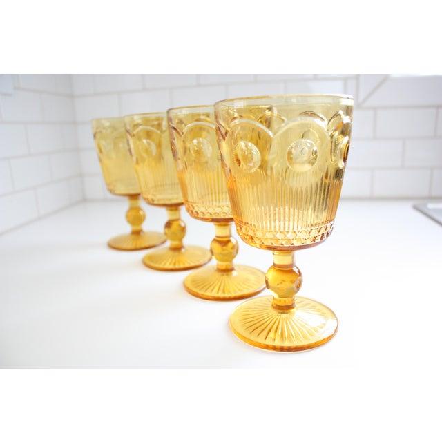 Vintage Amber Glass Goblets - Set of 4 - Image 3 of 7